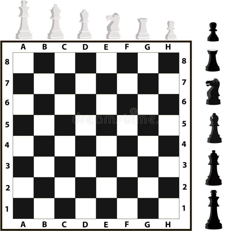 Schackstycken och schackbräde royaltyfri illustrationer