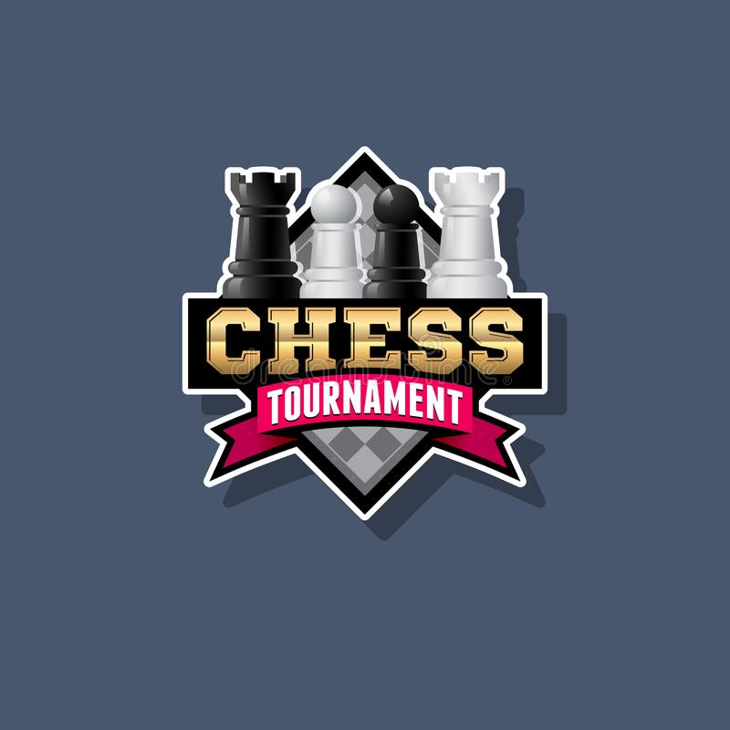 Schackturneringlogo Schackkonkurrensemblem Schack och band med bokstäver royaltyfri illustrationer