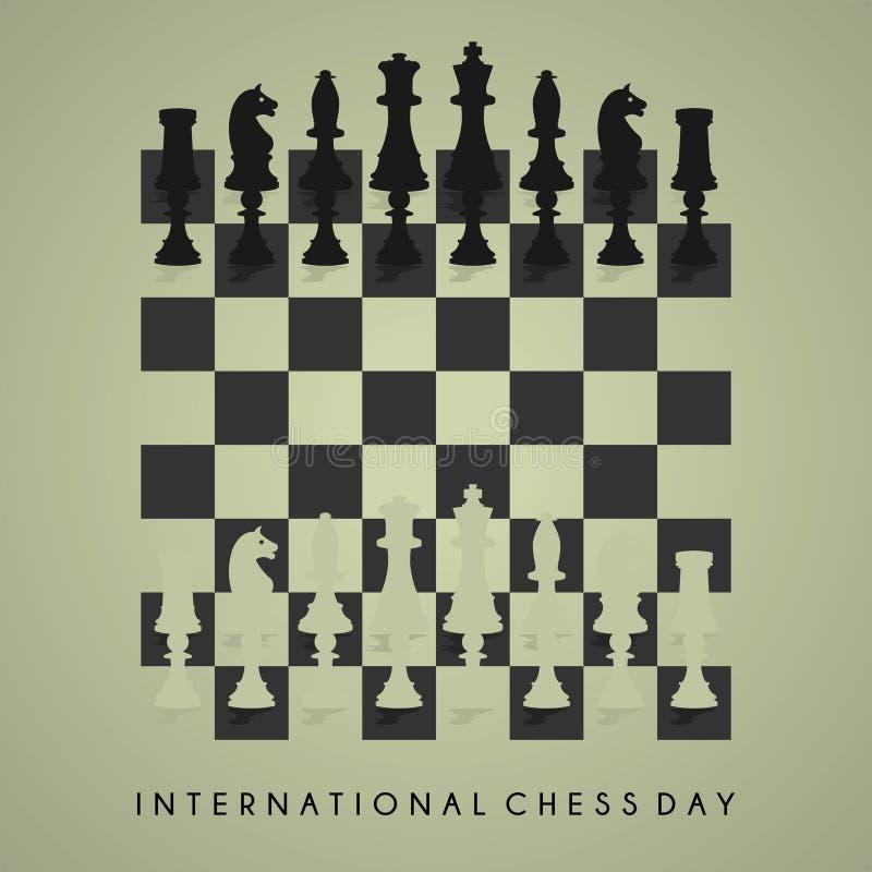 Schackvektordesign för internationell schackdag royaltyfri illustrationer
