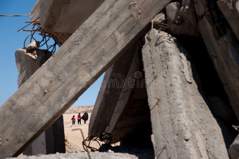 Schade van het Israëlische bombarderen in Gaza royalty-vrije stock afbeeldingen