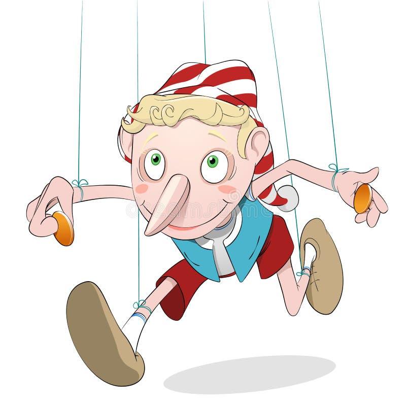 Schadelijke Pinocchio royalty-vrije illustratie