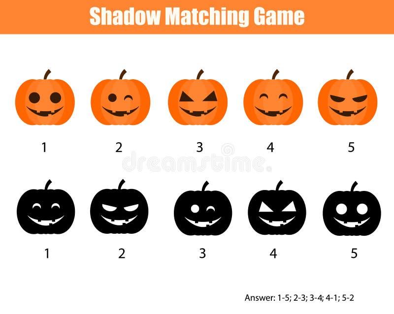 Schaduw passend spel, Halloween-thema met pompoenen vector illustratie