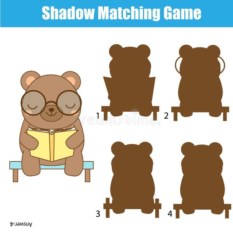 Schaduw passend spel Jonge geitjesactiviteit met leuke beer stock illustratie