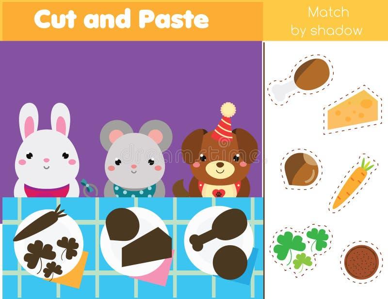 Schaduw passend spel Jonge geitjesactiviteit met voedsel Gezette maaltijd in platen vector illustratie