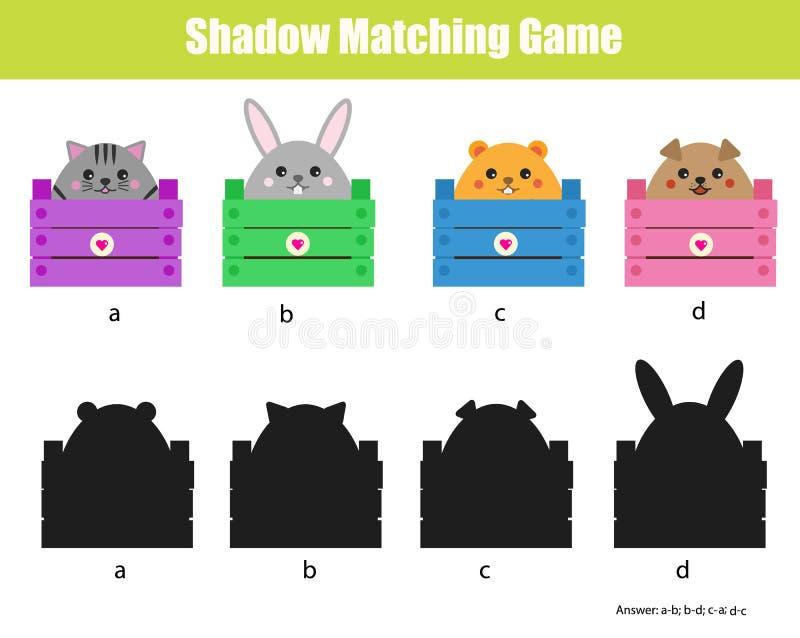 Schaduw passend spel Onderwijskinderenspel met dierenkarakters vector illustratie