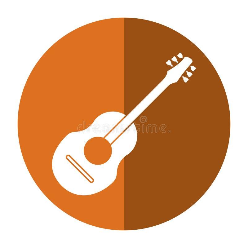 Schaduw van de gitaar de traditionele akoestische muziek stock illustratie