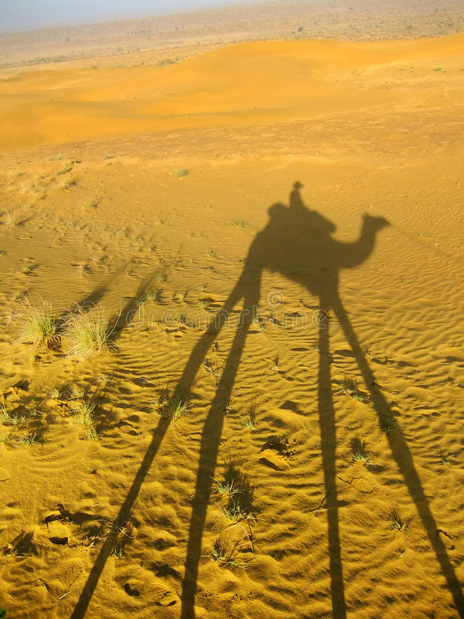 Schaduw van een kameel met toerist op een zandduinen, de woestijn van Thar, Ind. royalty-vrije stock foto's