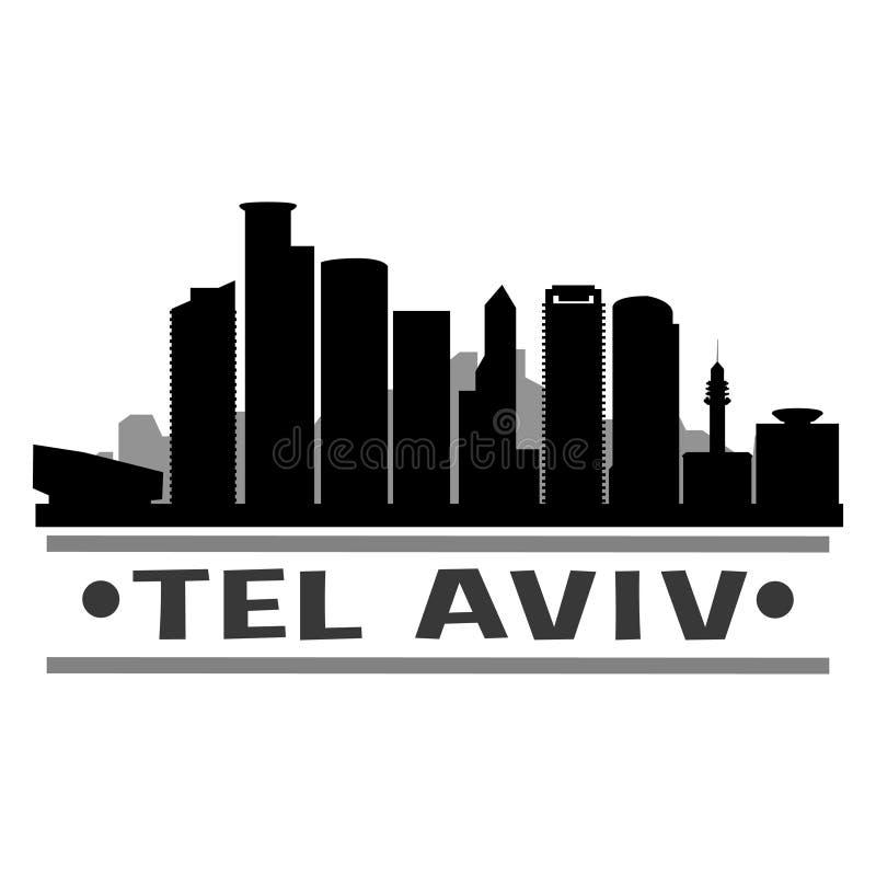 Schaduw van het Pictogram de Vectorart design skyline night flat van tel. Aviv Israel Azië vector illustratie