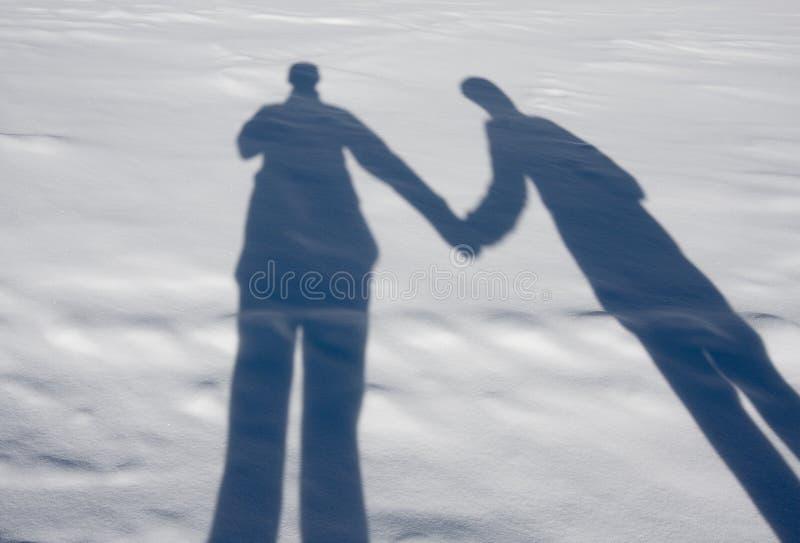 Schaduwen op de sneeuw stock foto's