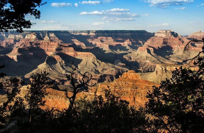 Schaduwen op Mather Point, Grand Canyon stock foto's