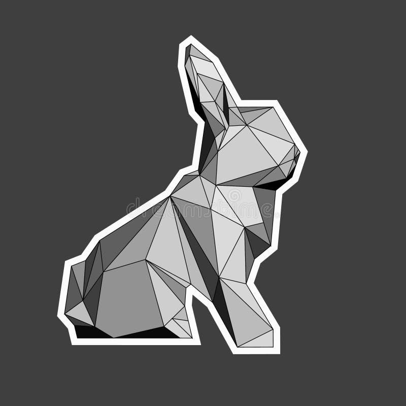 Schaduwen van grijze illustratie van poligonalkonijn royalty-vrije stock afbeeldingen