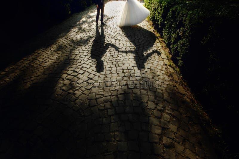 Schaduwsilhouet van mooie bruid en het knappe bruidegom dansen stock afbeelding
