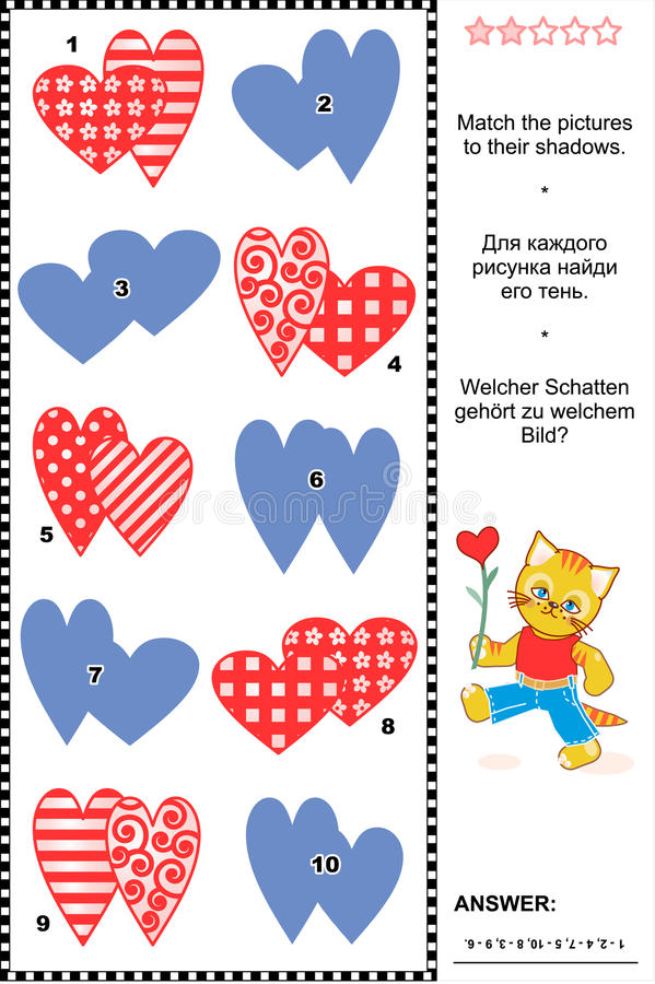 Schaduwspel met de Dagharten van Valentine royalty-vrije illustratie