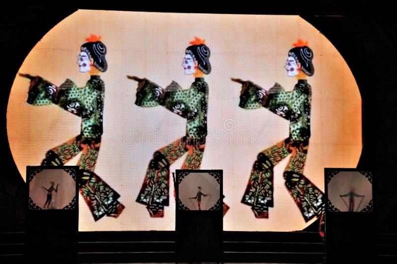 Schaduwspel op Lantaarnfestival royalty-vrije stock afbeeldingen