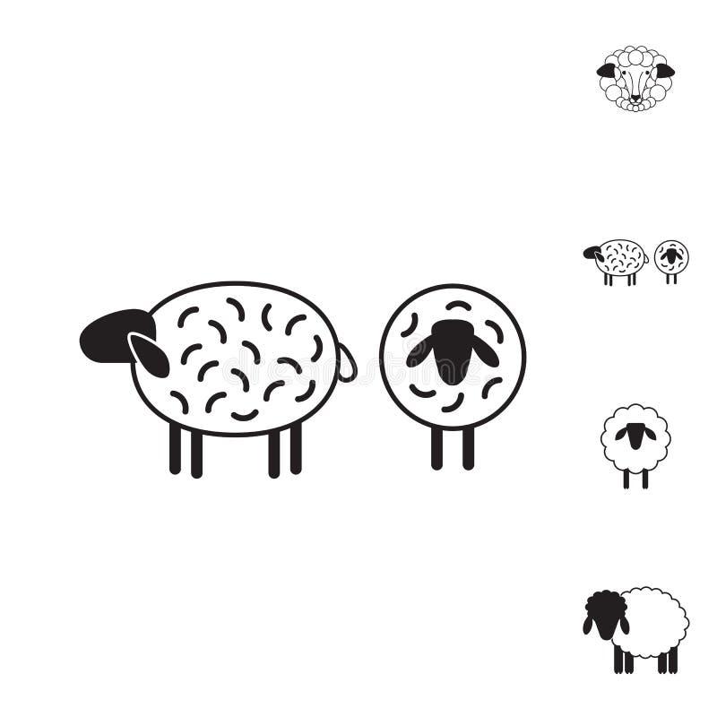 Schaf- oder RAM-Ikone, Logo, Schablone, Piktogramm lizenzfreie abbildung