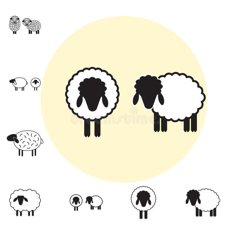 Schaf- oder RAM-Ikone, Logo, Schablone, Piktogramm stock abbildung