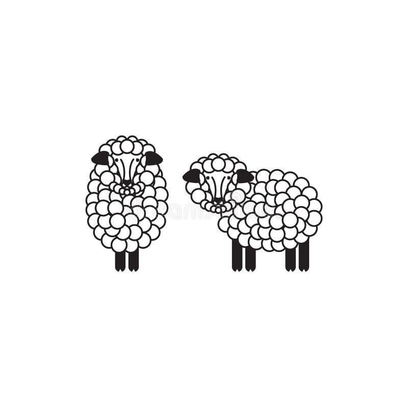 Schaf- oder RAM-Ikone, Logo, Schablone, Piktogramm Modernes Emblem für Markt, Internet, Design, Dekoration Modisches einfaches La vektor abbildung