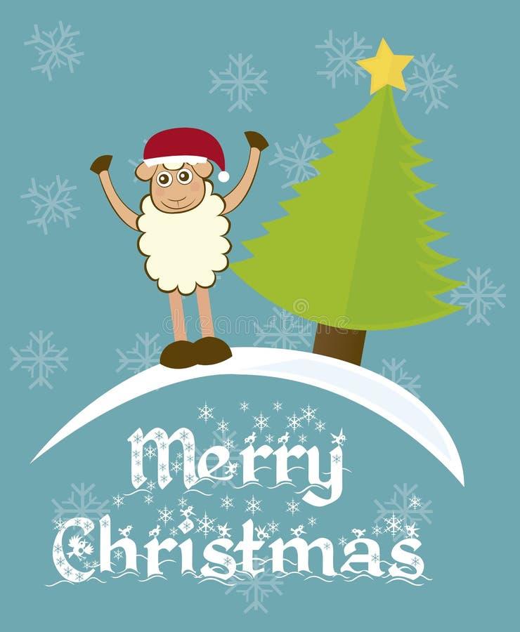 Schaf- und Weihnachtsbaum lizenzfreie abbildung