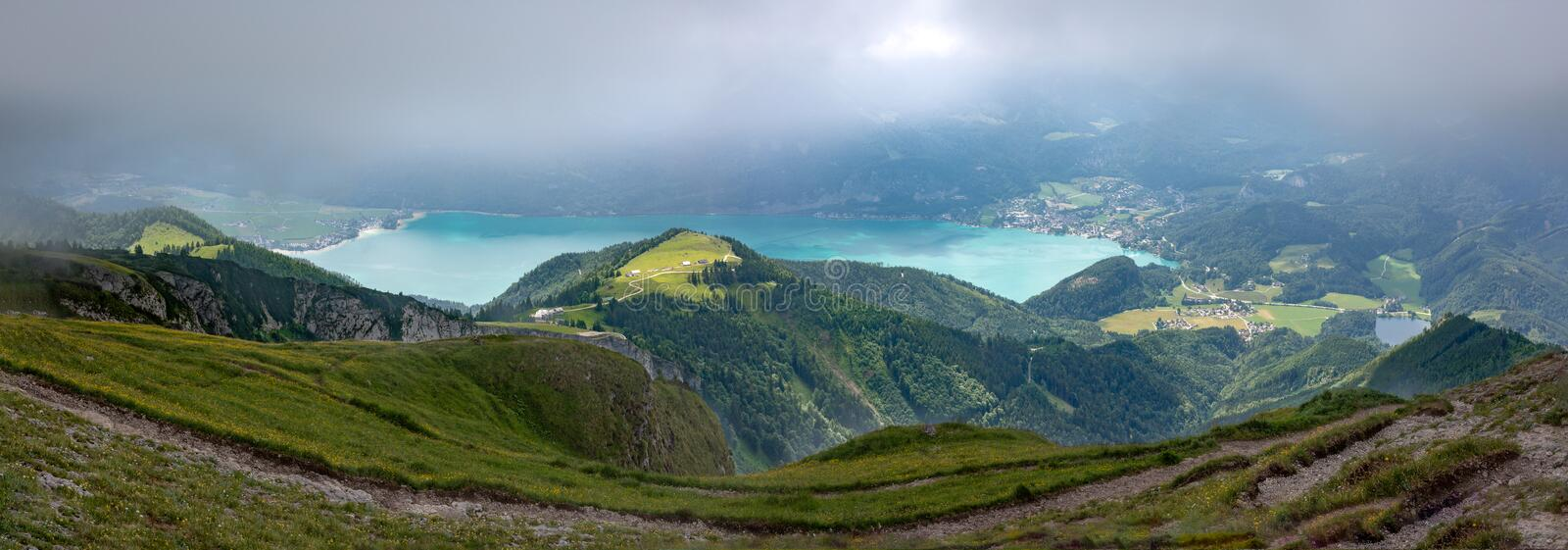 Schafberg and Wolfgangsee. From the summit of Schafberg looking down over the lake of Wolfgangsee in Austria and the lake district royalty free stock photography