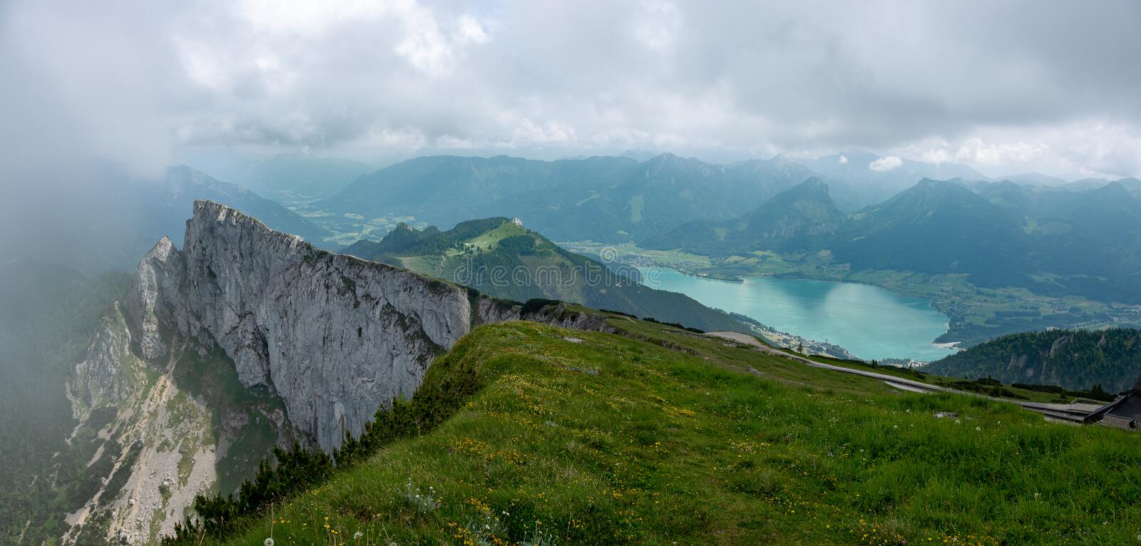 Schafberg and Wolfgangsee. From the summit of Schafberg looking over the lake of Wolfgangsee in Austria`s lake district stock photography