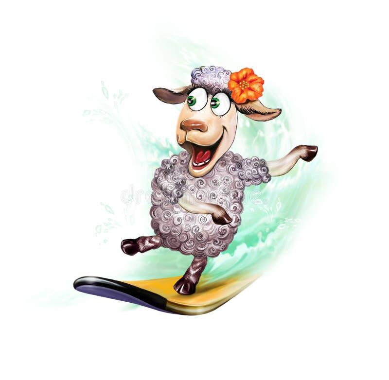 Schafe auf dem Surfbrett lizenzfreie abbildung