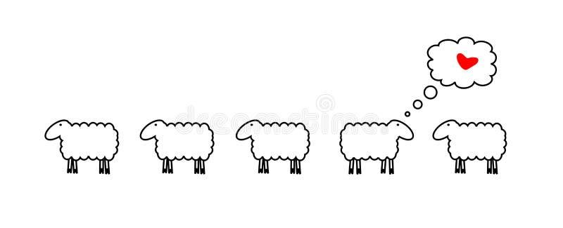 Schafe in der Liebe lizenzfreie abbildung