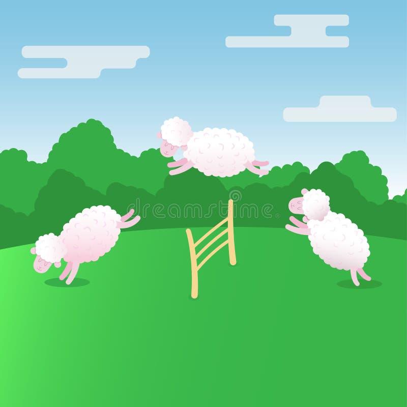 Schafe der Schafvektor-Illustration zählend flache nette, entwerfen Sie stock abbildung