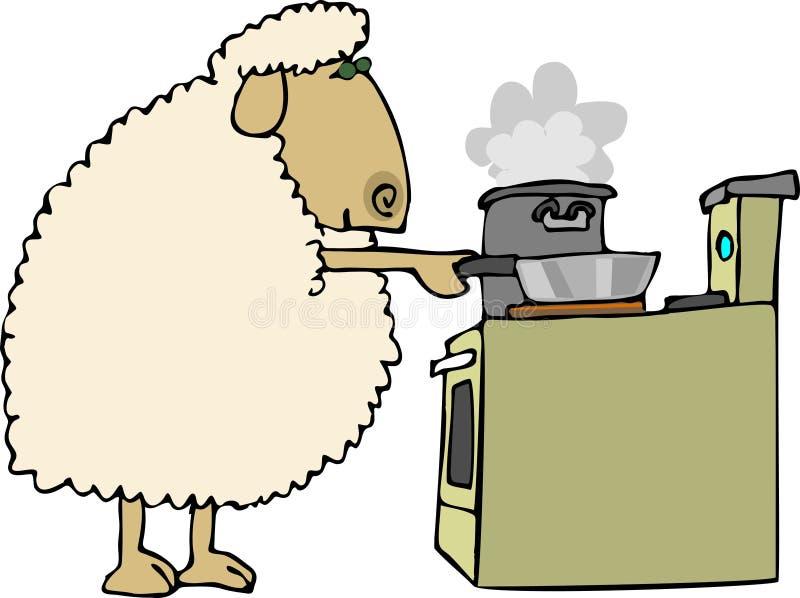 Schafe für Abendessen lizenzfreie abbildung