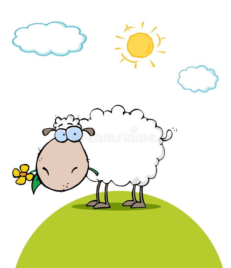 Schafe mit Blume im Mund an einem sonnigen Tag lizenzfreie abbildung