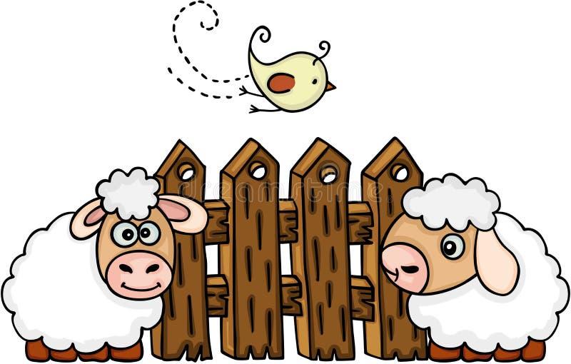 Schafe mit Vogel vor einem Zaun stock abbildung