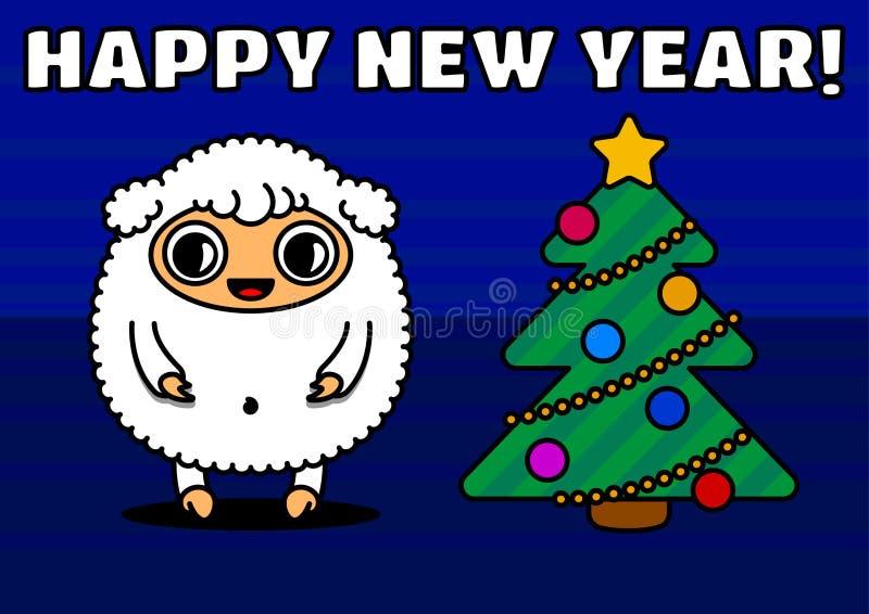 Schafe mit Weihnachtsbaum lizenzfreie abbildung