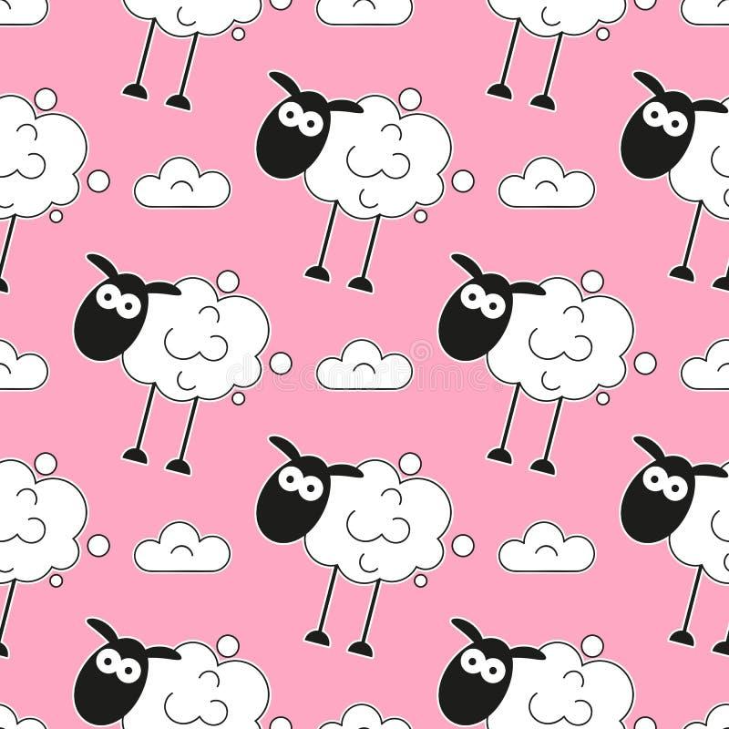 Schafe Nahtloses Muster Auch im corel abgehobenen Betrag Karikaturschafe Hintergrund druck stock abbildung