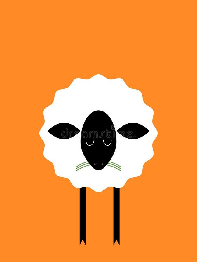 Schafe Orange Hintergrund lizenzfreie abbildung