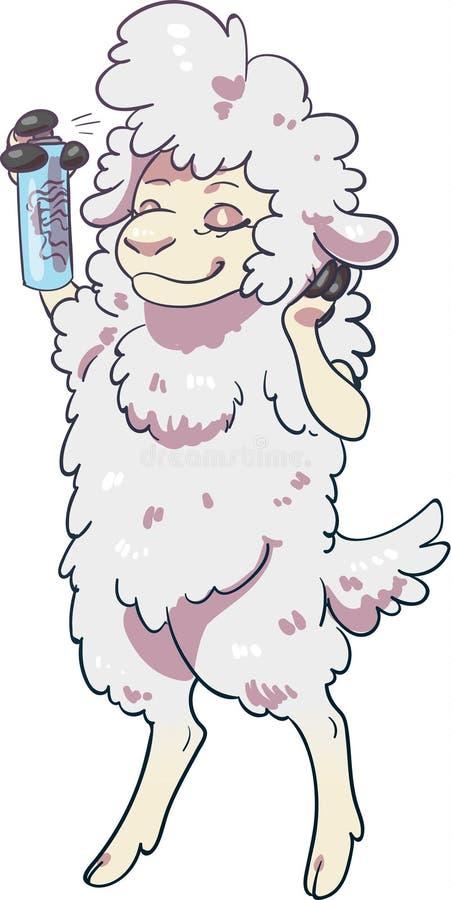 Schafe unter Verwendung des Haarsprays, das sein Haar anredet lizenzfreie stockfotografie