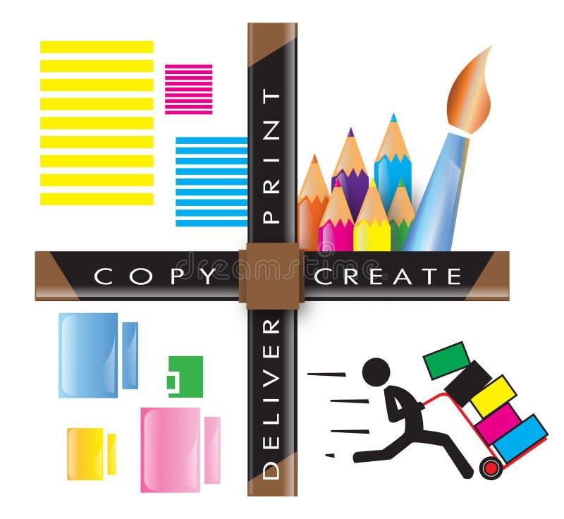 Schaffen Sie, drucken Sie, kopieren Sie, liefern Sie, Grafik, Druck-Grafik, Illustration stockbild