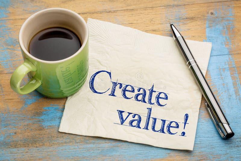 Schaffen Sie Wertanzeige auf Serviette lizenzfreies stockbild