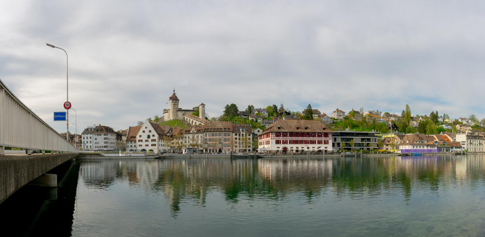 Schaffhausen, SH / Switzerland - 22 April 2019: view of the city of Schaffhausen with the bridge across the Rhine and city limits. Sign royalty free stock photography
