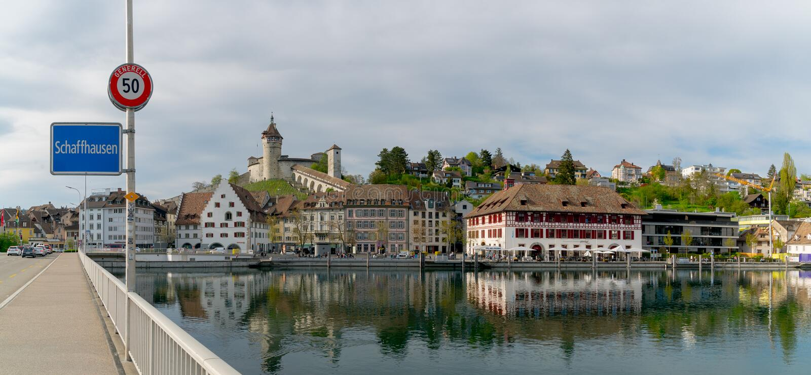Schaffhausen, SH / Switzerland - 22 April 2019: view of the city of Schaffhausen with the bridge across the Rhine and city limits. Sign royalty free stock images