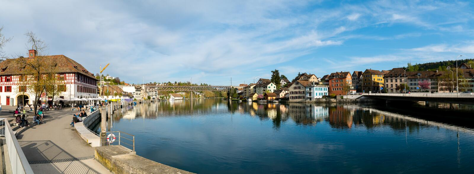 Schaffhausen, SH / Switzerland - 22 April 2019: view of the city of Schaffhausen with the bridge across the Rhine and city limits. Sign stock image