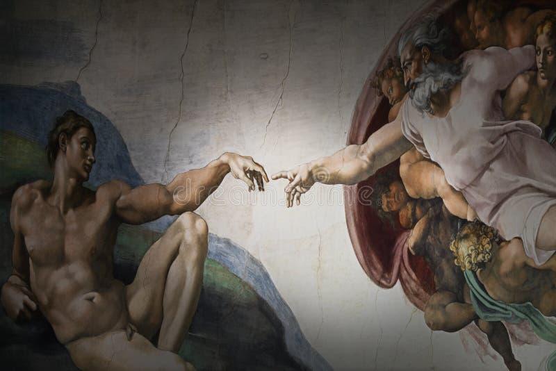 Schaffung Roms Italien am 8. März von Adam durch Michelangelo stockbild