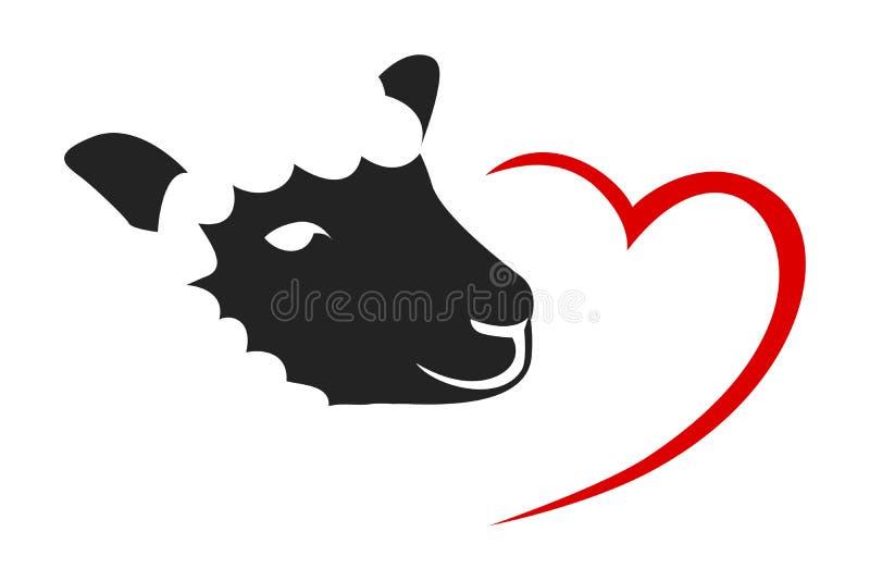 Schafkarikatur-Vektorillustration mit nettem rotem Herzen stock abbildung