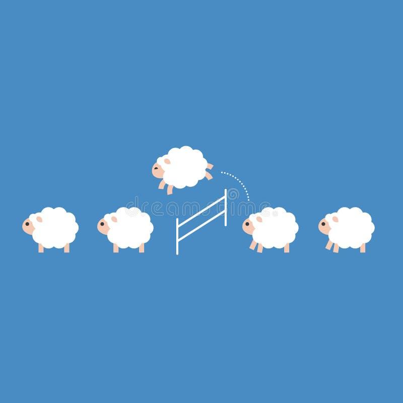 Schafmenge, die über einen Zaun, flacher Entwurf springt lizenzfreie abbildung
