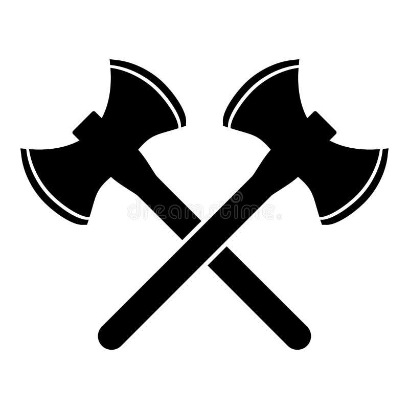 Schaft twee dubbel-onder ogen gezien Viking beeld van de de illustratie vlakke stijl van de pictogram het zwarte kleur vector af vector illustratie