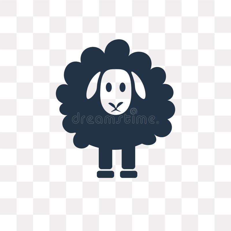 Schafvektorikone lokalisiert auf transparentem Hintergrund, Schafe tra lizenzfreie abbildung
