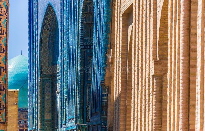 Schah-jag-Zinda en nekropol i Samarkand, Uzbekistan arkivfoto