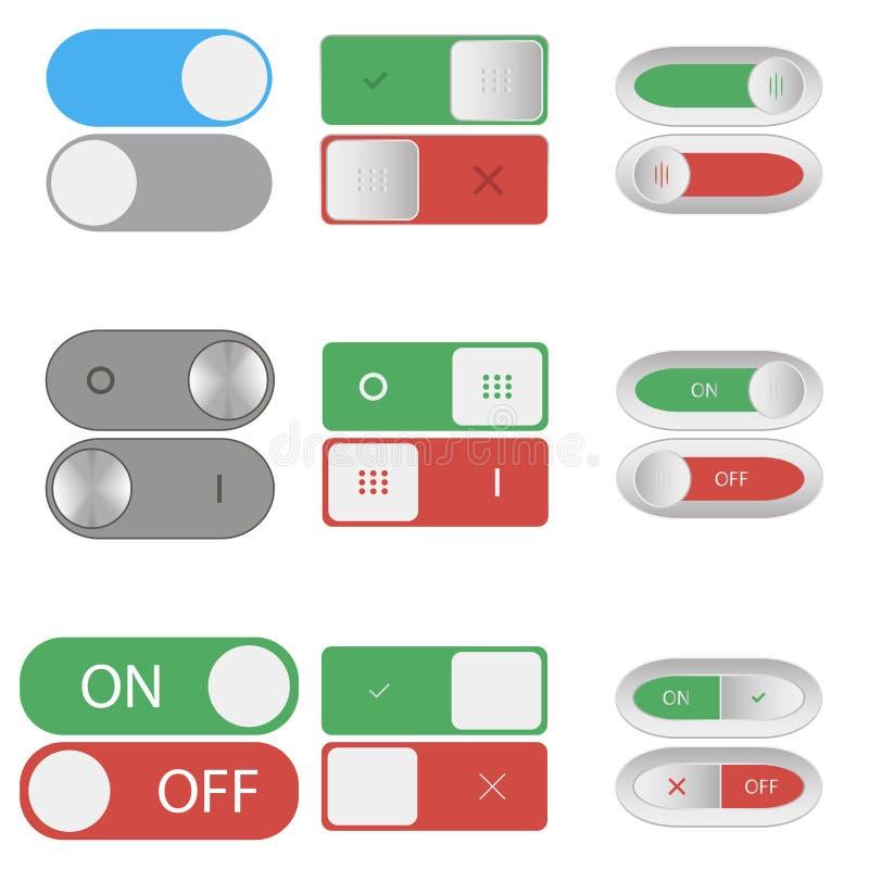 Schakelaar aan en uit knopen Reeks Include en sluitingsknevelschuiven Element van ontwerp voor toepassingen, websites Vector royalty-vrije illustratie