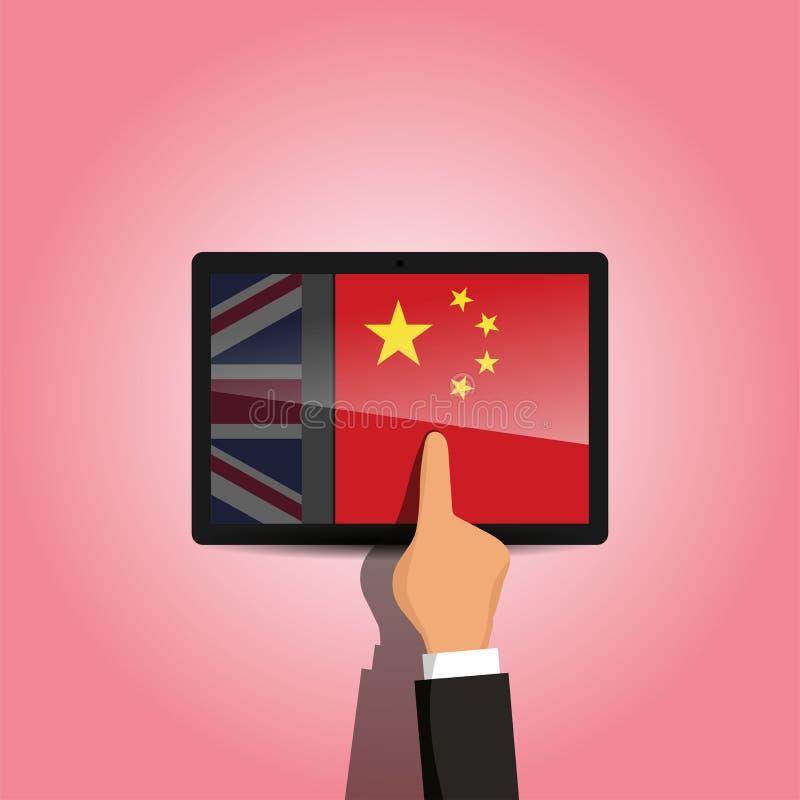 Schakelaar van Engels aan Chinees taal e-lerend platform royalty-vrije stock afbeeldingen