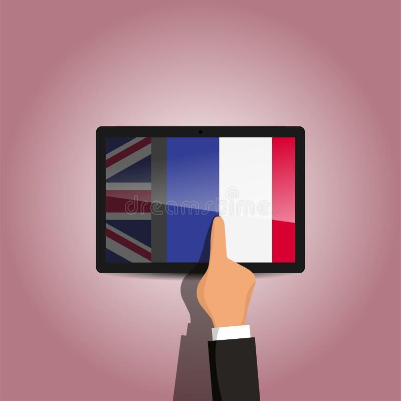 Schakelaar van Engels aan Frans taal e-lerend platform stock afbeeldingen
