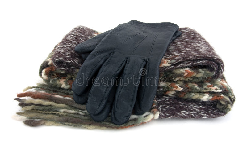 Schal und Handschuhe stockbilder