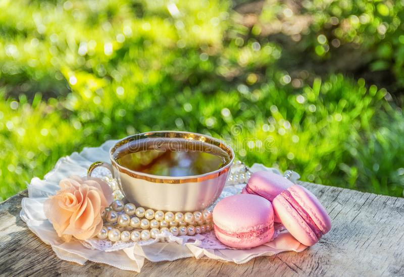 Schale Abendtee im Sommergarten Empfindliche Mandelmakronen und Tasse Tee im sonnigen Garten lizenzfreie stockfotografie